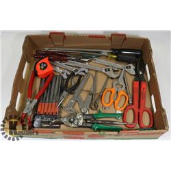 FLAT OF ASSORTED HAND TOOLS INCLUDING FILES,