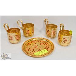 UKRAINIAN PLATES & GLASS HOLDER.