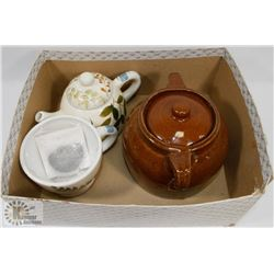 MEDALIA BEAN POT WITH TEA POT & CUP.