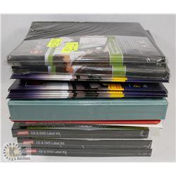 LOT OF ASST FILE FOLDERS, LABEL KITS FOR CD/DVD,