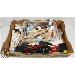 LARGE BOX OF ARTIST SUPPLIES