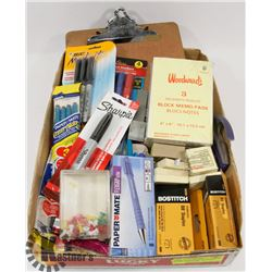 OFFICE SUPPLY LOT: INCLUDES POST-ITS, SHARPIES,