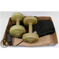 WORKOUT LOT: INCLUDES TWO 5LBS WEIGHTS, SQUAT/
