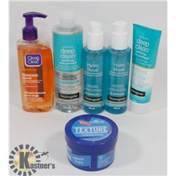 BAG OF ASSORTED FACIAL CLEANSERS AND CREAMS