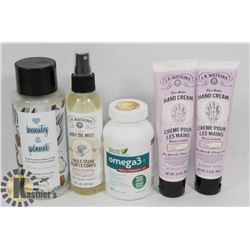 BAG OF BODY MIST, CONDITIONER, AND MORE