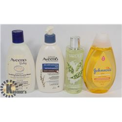 BAG OF AVEENO LOTION, JOHNSONS BABY WASH, AND MORE