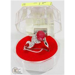 #1-GENUINE RED RUBY & CZ  RING