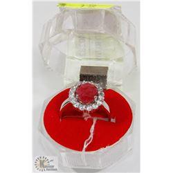 #2-GENUINE RED RUBY & CZ RING