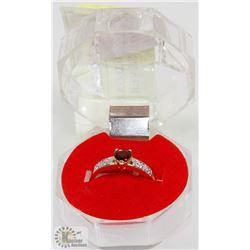 #41-GENUINE  RED GARNET  RING .925 STERLING SILVER