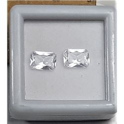 4)  LOT OF 2 MATCHED WHITE EMERALD CUT