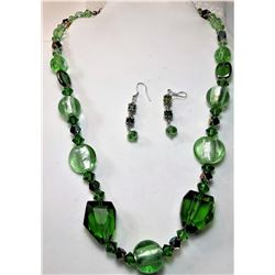 8)  SHADES OF GREEN GLASS & CRYSTAL