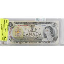 CANADA $1 BILLS 1973 POKER HAND SERIAL NUMBERS
