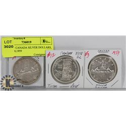 LOT OF 3 CANADA SILVER DOLLARS, 1957, 1958,1959