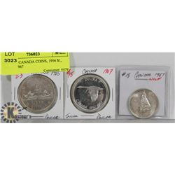 LOT OF 3 CANADA COINS, 1965 $1, 1967 $1, 1967