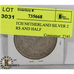 1938 DUTCH NETHERLAND SILVER 2 GUILDORS AND HALF