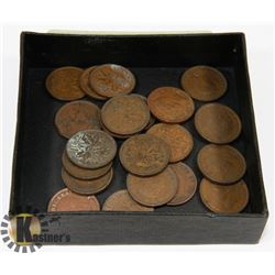 LOT OF 23 CANADA  KING GEORGE VI  ONE CENT COINS