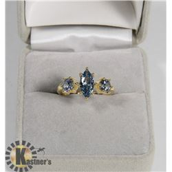 .925 SILVER GOLD PLATED LADIES RING SIZE 7