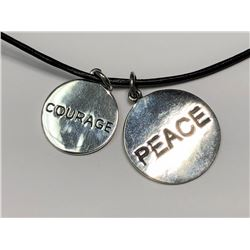 161) TWO SILVER PEACE & COURAGE PENDANT NECKLACE