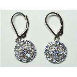 110) STERLING SILVER TANZANITE EARRINGS