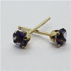 184) 14K YELLOW GOLD IOLITE EARRINGS