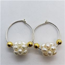 136) GOLD-PLATED STERLING SILVER FW PEARL EARRINGS