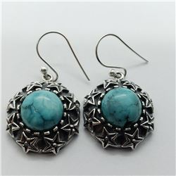 156) STERLING SILVER TURQUOISE EARRINGS