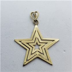 183) 10KT GOLD W/ DIAMOND STAR SHAPED PENDANT