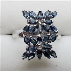 130) STERLING SILVER BLUE SAPPHIRE RING