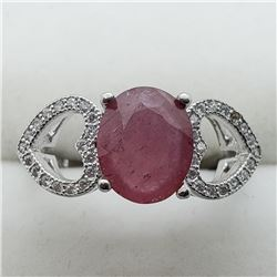131) STERLING SILVER PINK SAPPHIRE RING