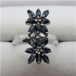 132) STERLING SILVER SAPPHIRE RING