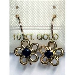 189) 10KT GOLD SAPPHIRE FLOWER SHAPED EARRINGS