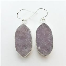 137) STERLING SILVER DRUZY CRYSTAL EARRINGS