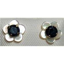 199) 10KT 2 SAPPHIRE EARRINGS W/ WHITE SLEEVES