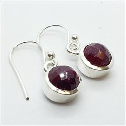 154) STERLING SILVER GENUINE RUBY EARRINGS