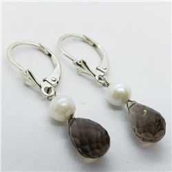 174) SILVER SMOKEY QUARTZ FW PEARL EARRINGS
