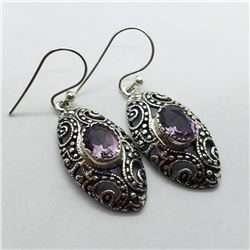 124) STERLING SILVER AMETHYST EARRINGS