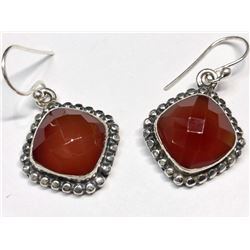 145) STERLING SILVER RED ONYX EARRINGS