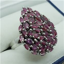 128) STERLING SILVER PINK SAPPHIRE RING