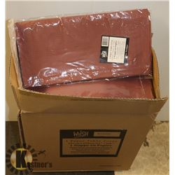CASE OF 30 NEW BURGUNDY DISPOSABLE TABLECLOTHS