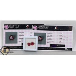 #8-MATCHING PAIR EARRINGS RED RUBY  3.20CT