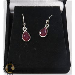 #27-RED RUBY  DANGLING  EARRINGS