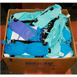 BOX OF ASSORTED WOMENS BIKINI TOPS AND BOTTOMS