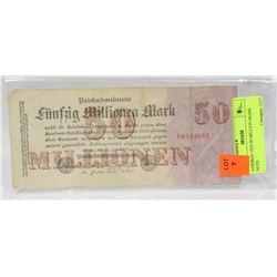 1923 GERMAN 50 MILLION MARK NOTE