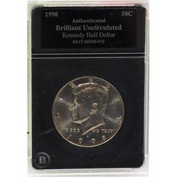 1998 BU AUTHENTICATED KENNEDY HALF DOLLAR COIN