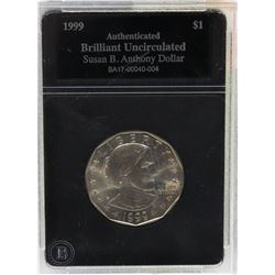 1999 U.S. AUTHENTICATED SUSAN B ANTHONY $1 COIN