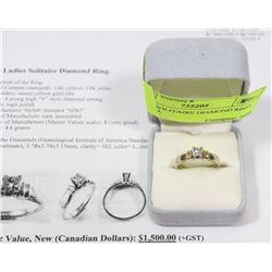 14K GOLD LADIES SOLITAIRE DIAMOND RING,