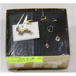 BOX  WITH 7 VINTAGE ESTATE PENDANTS, PINS &