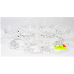 SET OF 6 FINE CRYSTAL GLASSES.