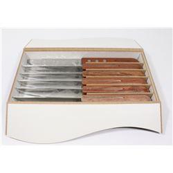 SET OF 6 STEAK KNIVES IN WOOD CASE