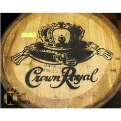 CROWN ROYAL WHISKEY LOGOED BARREL, SWISHABLE.